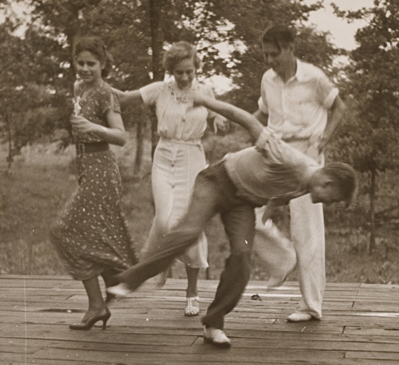 Old photograph of awkward dancers